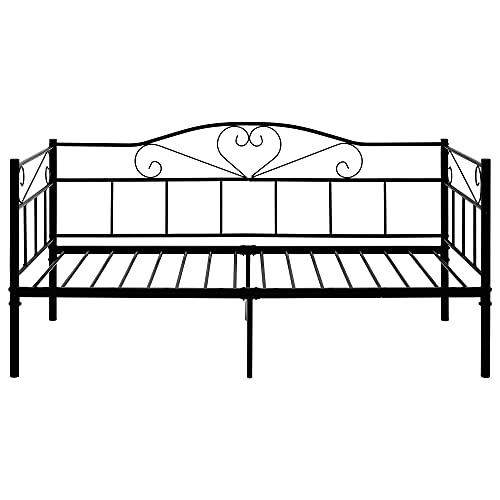 ANAC 【NEW】Metal Bed 3FT Single Daybed, Metal Guest Bed for Adults Kids Teenagers, Sofa bed for Bedroom, Living Room, Black (90 x 190 cm)