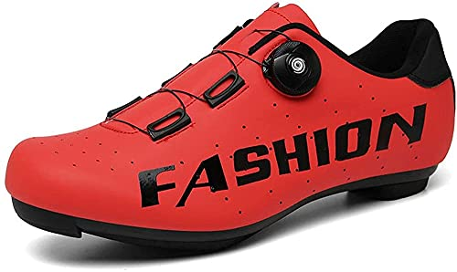 KUXUAN Zapatos de Ciclismo de Carretera para Hombre, Zapatos de Pelotón con Tacos de Montar en Bicicleta SPD Compatibles,Red-10UK=(270mm)=44EU