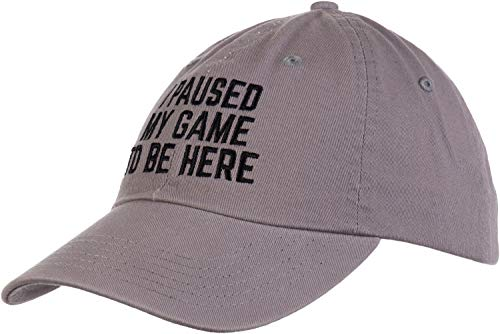 I Paused My Game to Be Here | Funny Video Gamer Humor Joke for Men Women Hat Cap-(Dad Hat, Gray)