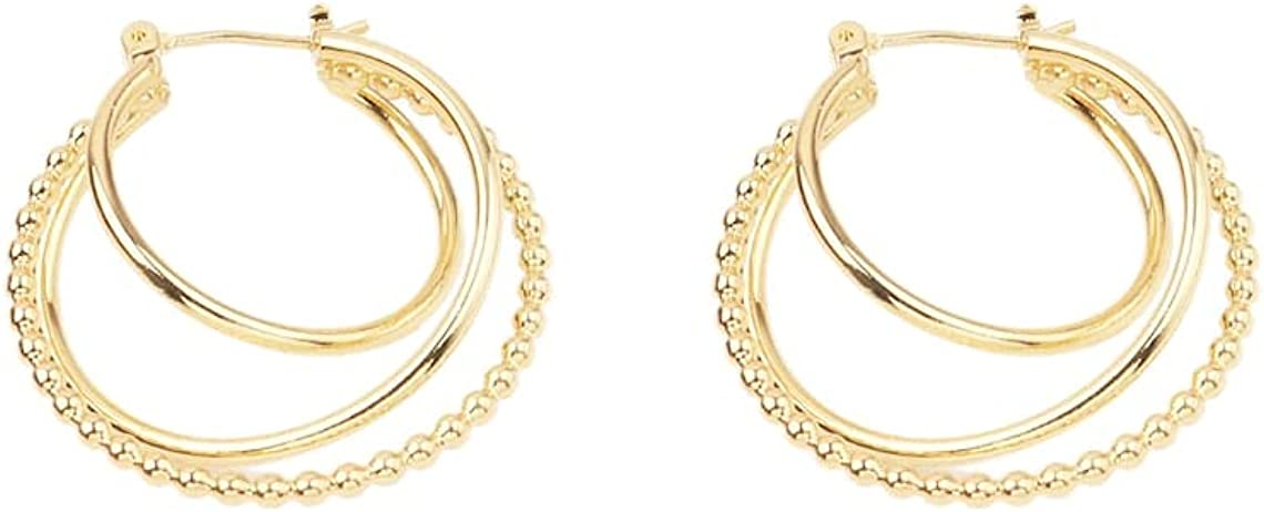 Custom 1 Pair 28.5mm Delicate 18kt Gold Filled Chunky 3 Circles Round Ball Beads Hoops Earrings Wholesale Bulk Factory Supplier