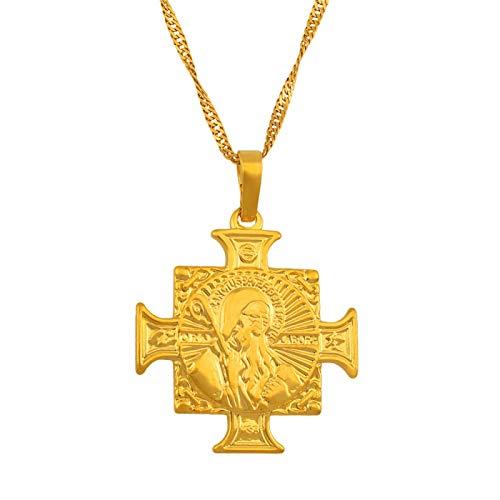 DSHT Medalla de San Benito, colgante de cruz cristiana de oro #202804
