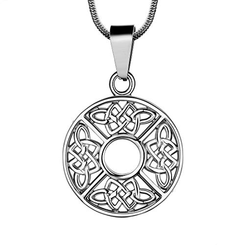 Celtic Knot Necklace Coin Round 316L Stainless Steel Viking Pendant Amulet Protection Irish Jewelry SP0062G