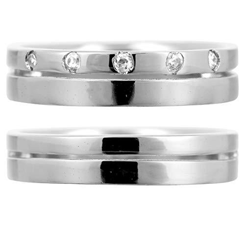 [ココカル]cococaru ペアリング 2本セット K10 ホワイトゴールド 結婚指輪 ダイヤモンド 日本製(レディースサイズ11号 メンズサイズ19号)