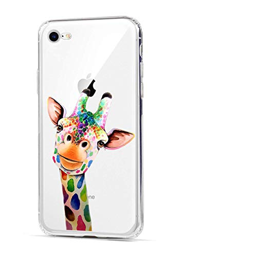 HUIYCUU Case Compatible with iPhone SE2 SE 2020 / iPhone 8 for iPhone 7 Case, Cute Animal Design Slim Fit Soft TPU Protective Cover Funny Pattern Thin Clear Skin Novelty Bumper Back Shell,Giraffe