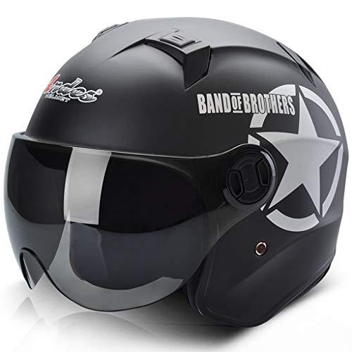 FLY® Casque De Moto Électrique, Casque Anti-buée Écran Solaire, Demi-casque Chaud Quatre Saisons (Couleur : NOIR)