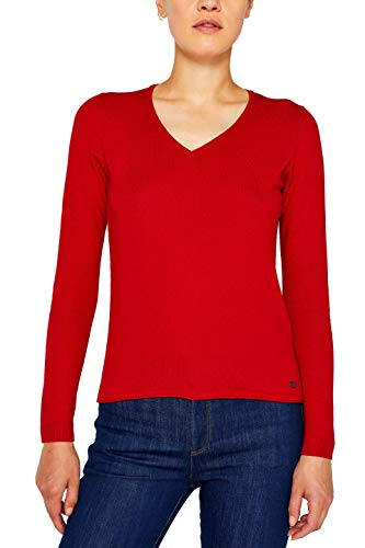 edc by ESPRIT Damen 079Cc1I001 Pullover, Rot (Dark Red 610), X-Large (Herstellergröße: XL)