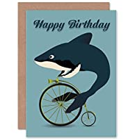 HAPPY BIRTHDAY WHALE SHARK BICYCLE PENNY FARTHING ABSURD GREETINGS CARD