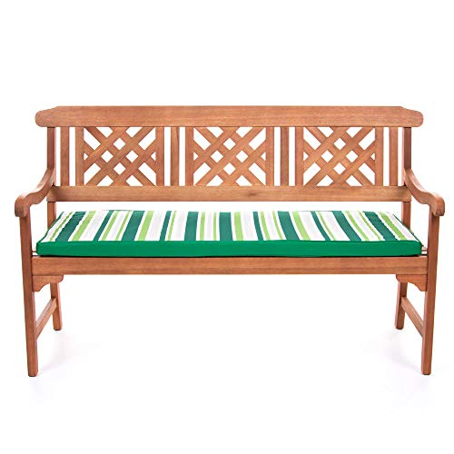 Bean Bag Bazaar Outdoor Bench Pad Cushion, Green Stripe – 128cm x 50cm, Three Seater – Fibre Filled, Water Resistant – for Garden Bench or Swing – Bench Cushions For 3 People