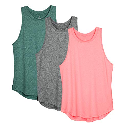 icyzone Women's Racerback Workout Tank Tops - Athletic Yoga Tops, Running Exercise Gym Shirts (Pack of 3) (Medium, Charcoal/Jade/Hot Pink)