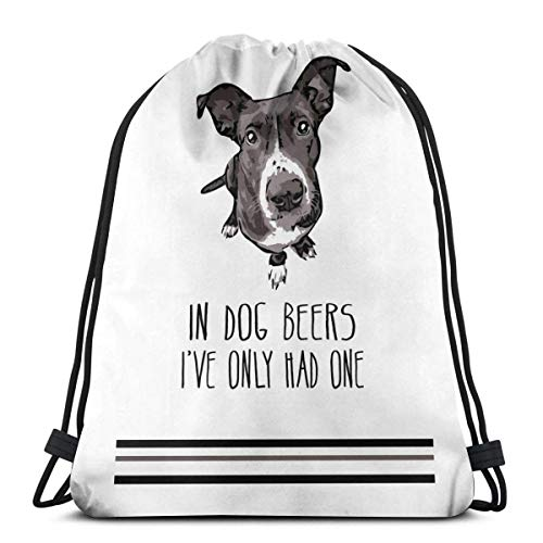 BXBX Drawstring Backpack Bag Sport Gym Sackpack Cinch Bag for School Yoga Gym Swimming Travel Unisex - in Dog Beers