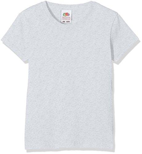 Fruit of the Loom Mädchen Valueweight T Girls T-Shirt, Grau (Heather Grey 123), Herstellergröße: 116 (5-6)