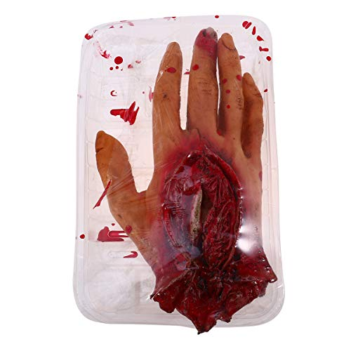 PRETYZOOM Scary Bloody Simulación de la mano de la comida, caja de decoración de órganos realistas