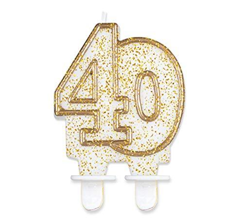 Glitzer Zahlenkerze für Geburtstag Hochzeit Events Jubiläum Torte Cupcake Muffins & Kuchen (40. Geburtstag)