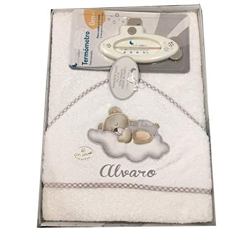 Capa de baño para Bebe BORDADA con nombre. Modelo Osito luna. Capas y toallas bebe regalos bebe (Gris)