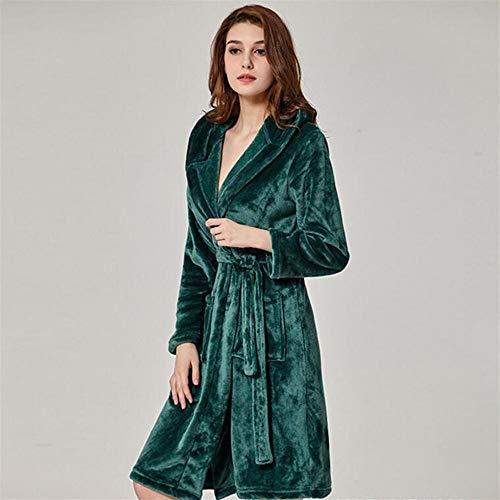 Eastery dames winter flanel badjas met capuchon warm groen M pyjama eenvoudige stijl thuis reizen mode comfortabel pyjama