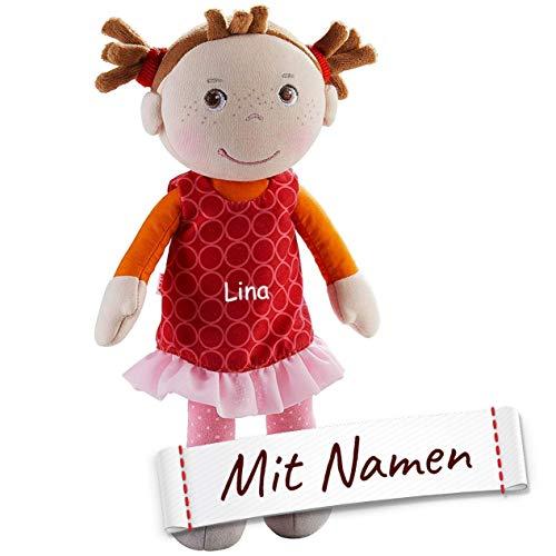 HABA Stoffpuppe Mirka mit Namen Bestickt, weiche Erste Baby Puppe mit Kleidung und Haaren, ab 1 Jahr Kuschelpuppe Taufgeschenk, Anziehpuppe Kuschelpuppe 305041