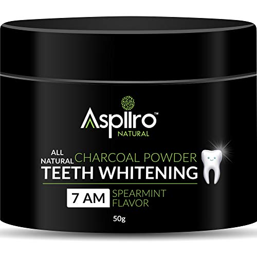 Aspiiro Natural 7 AM Organic Instant Teeth Whitening Charcoal Powder - 50 gm | All Natural Spearmint Flavor to Removes Tooth Stains & Bad Breath | Teeth Whitening Products