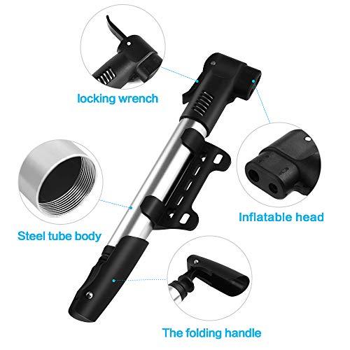 synmixx Mini Fahrradpumpe Fahrrad Luftpumpe für Fahrrad Max Druck 120 PSI/8 bar mit Presta & Schrader Minipumpen für Rennrad, Mountainbike - 5