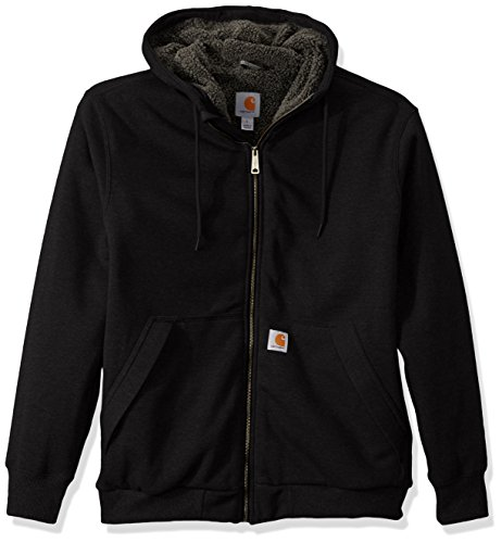 Carhartt Men's Rain Defender Rockland Sherpa Lined Hooded Sweatshirt, Black, X-Large