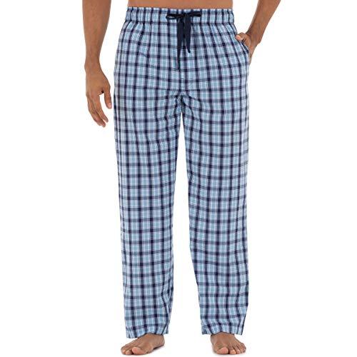 IZOD Men's Plaid Print Relaxed Fit Poplin Drawstring Sleep Pant, Navy/Blue, Large