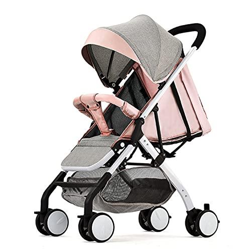 TONGQU Silla de Paseo Ligero - Cochecito de Viaje Ligero y Plegable Cochecitos bebé Ajustables con una Mano, arnés Cinco Puntos, con Respaldo Ajustable, cojinete 15 kg,Light Pink