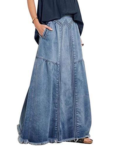 ORANDESIGNE Damen Freizeit Rock A-Linie Lässig Voller Länge Boutique Blau Denim Jeans Rock im Used Look Hellblau 46