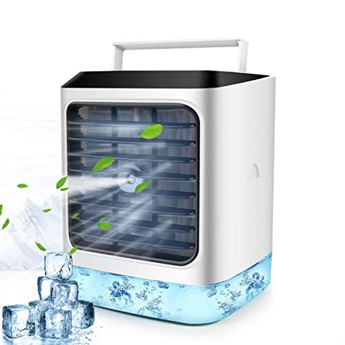 Portable Air Cooler, Personal Mini Air Conditioner, 4 in 1 Evaporative Coolers, Humidifier, Purifier with 7 Colors LED, Desktop Cooling Fan, Air Conditioning Unit for Home Office, Timer 3 Speed