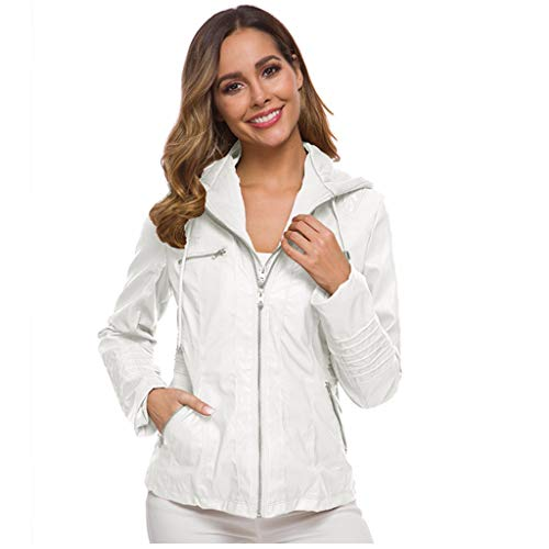 Dames Herfst Winter Leren Jack, Dames Lange Mouw Effen Kleur Rits up Mode Korte Jas Bovenkleding met Pocket