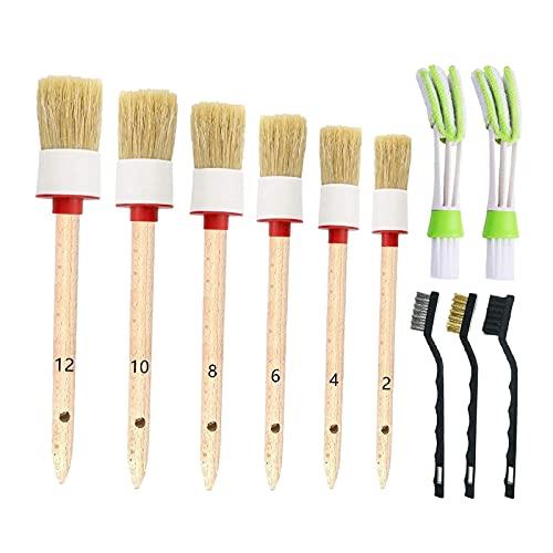 H HILABEE 11 Piezas de Kit de cepillos para Detalles de Coches, Juego de cepillos para Limpieza de Coches, para Limpieza de Ruedas, Interior, Exterior, Cuero,