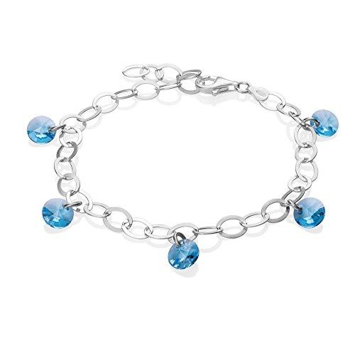 LillyMarie Damen Silberarmband Echt Silber Swarovski Elements Kristalle Hell-blau Längen-verstellbar Kleine Geschenke für Frauen