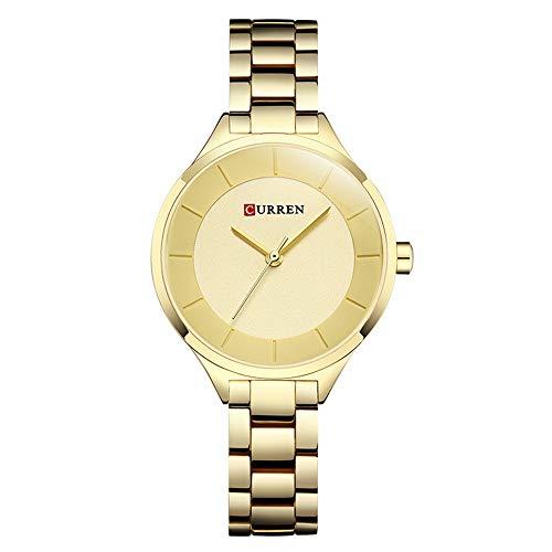 Hyssb Wasserdichte Stahlbanduhr Freizeitmode Damenquarzuhr Einfache Wasserdichte Stahlbanduhr Goldgürtel-Goldgesicht Armbanduhren