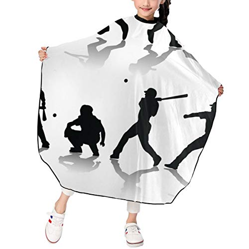 Baseball Players Kids Haircut Barber Cape Cover for Hair Cutting,Styling and Shampoo