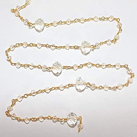 New Collection 1 Feet 24k Gold Plated Corrugated Copper Melon Bead Wire Wrapped Beaded Chain Rosary Style Station Chain 10mmx6mm GPC620