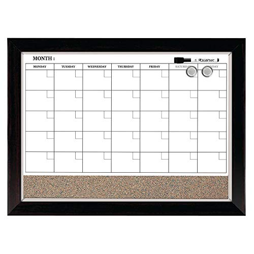 "Quartet Combination Magnetic Whiteboard Calendar & Corkboard, 17"" x 23"" Combo Dry Erase White Board & Cork Bulletin Board, Perfect for Office, Home School Message Board, Wood Frame (22476)"
