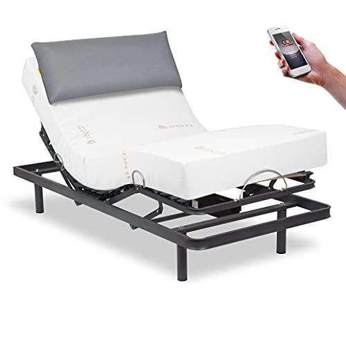 Ferlex - Pack Cama articulada eléctrica con colchón ortopédico visco Tencel y Almohada viscoelástica Premium (90x190, Mando inalámbrico)