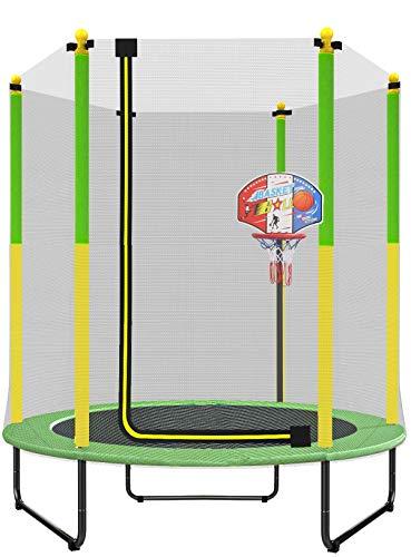 PILIN Trampolín verde y amarillo para interior / exterior Ø150cm X 180cm Adecuado para ejercicio y entretenimiento El mejor regalo de Navidad con aro de baloncesto de plástico