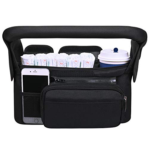 Universal Stroller Organizer with Insulated Cup Holder, Lupantte Upgrade Large Compartment Stroller Accessories, for Carrying Diaper, iPhone, Toys & Snacks, Fit Britax, Baby Jogger, BOB Stroller. etc.