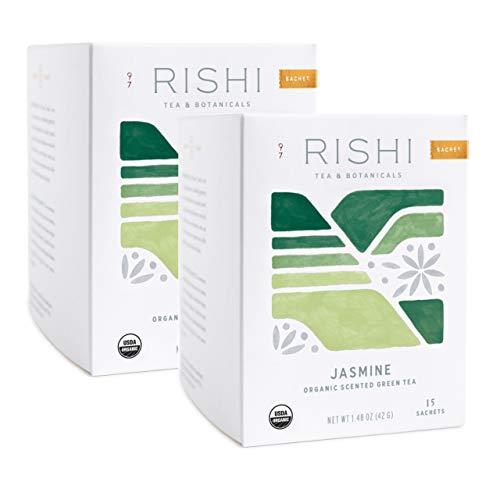 Rishi Tea Jasmine Green Herbal Tea | Immune Support, USDA Certified Organic, Fair Trade Green Tea, Caffeinated, Floral Aroma & Taste | 15 Sachet Bags, 1.48 oz (Pack of 2)
