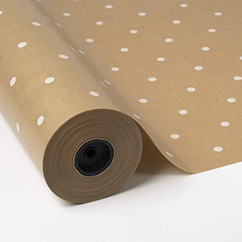 PAKOT Rollo de papel regalo Kraft Puntos Blancos - Bobina grande 70CM x 100M - Ideal Regalos, Embalaje y Tiendas