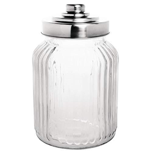 Olympia CM637 Geribbelde glazen opbergpot met roestvrijstalen deksel, 112 mm x112 mm x 175 mm, 900 mL, 32 oz.
