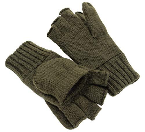Thinsulate Strick-Handschuhe Schießhandschuhe Green Hunter ohne Fingerkuppen mit abklappbarem Fäustel Jagd Outdoor Angeln Herbst Winter inkl. Handwärmer Pads (XL)