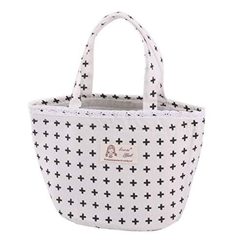 YeVhear - Bolsa nevera de algodón y lino con diseño de símbolo impreso, bolsa de mano con cordón