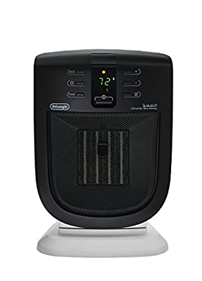 De'Longhi Ceramic Compact Heater, Quiet 1500W, Digital Adjustable Thermostat, 3 Heat Settings, Timer, Remote Control, Energy Saving, Safety Features, Black, DCH5915ER