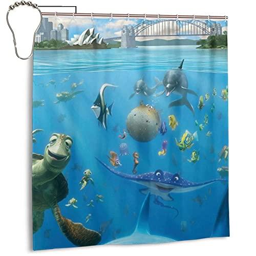 CIXUAN Finding-Nemo- Duschvorhang Cartoon 3D-Druck Wasserdicht Polyestergewebe Badezimmer Maschinenwaschbar Vorhang Badzubehör mit Haken 168x183cm