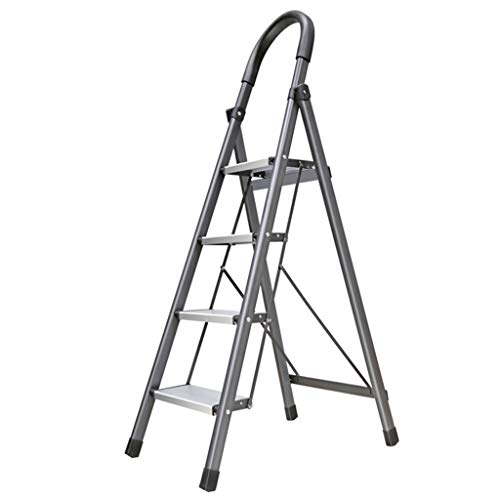 Multifunctionele veiligheidsladder, Hotel Restaurant Four Step Ladder Aluminium Multifunctionele Ladder Eenvoudige Boekenplank Grijs 150kg Draagvermogen stabiel 45 * 71 * 143cm Grijs