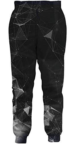 ALISISTER Herren Damen Jogginghose 3D Schwarz Diamant Druck Hose Slim Fit Gym Athletic Jogger Sportswear Freizeithose für Jungen Mädchen XXL