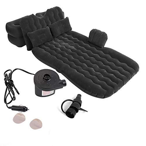 Aufblasbares Bett, Matratze Indoor Outdoor Camping Reise Auto Rücksitz Luftbetten Kissen(Schwarz)