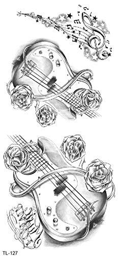 Gitaar Tattoo musici tattoo muzieksleutel tattoo rozen tattoo TL127