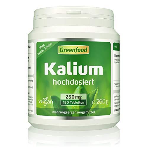 Greenfood Kalium, 250 mg, 180 Tabletten – stabilisiert den Blutdruck. Stärkt Nerven, Muskeln und das Herz. OHNE künstliche Zusätze. Ohne Gentechnik. Vegan.