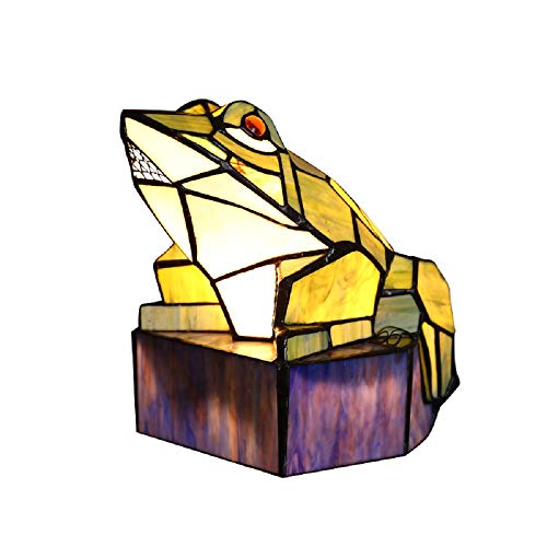 colorful stained glass frog lamp